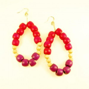 Oval wood earrings